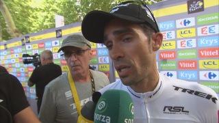 Alberto Contador aan de microfoon bij Sporza
